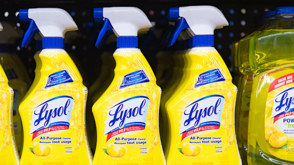 Lysol bottles on a store shelf, plastic spray bottles of all-purpose cleaner. The product is distributed by Reckitt Benckiser. (Photo by Roberto Machado Noa/LightRocket via Getty Images)