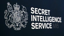 GLENROTHES, SCOTLAND - DECEMBER 03: A Secret Intelligence Service sign at the entrance to Buchanan Theatre ahead of a speech by Alex Younger, Chief of the Secret Intelligence Service - known as MI6 at University of St Andrews on December 3, 2018 in Glenrothes, Scotland.