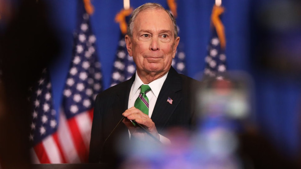 Former Democratic presidential candidate Mike Bloomberg addresses his staff and the media after announcing that he will be ending his campaign on March 04, 2020 in New York City. Bloomberg, who has endorsed Joe Biden, spent millions of dollars in his short lived campaign for president. (Photo by Spencer Platt/Getty Images)