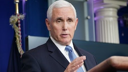 """US Vice President Mike Pence speaks during the daily briefing on the novel coronavirus, COVID-19, in the Brady Briefing Room at the White House on March 31, 2020, in Washington, DC. - Trump on Tuesday warned of a """"very painful"""" two weeks ahead as the United States wrestles with a surge in coronavirus cases."""