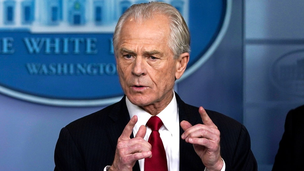 WASHINGTON, DC - MARCH 27: White House Trade and Manufacturing Policy Director Peter Navarro speaks during a briefing on the coronavirus pandemic in the press briefing room of the White House on March 27, 2020 in Washington, DC. President Trump signed the H.R. 748, the CARES Act on Friday afternoon. Earlier in the day, the U.S. House of Representatives approved the $2 trillion stimulus bill that lawmakers hope will battle the economic effects of the COVID-19 pandemic.