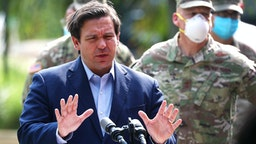 FORT LAUDERDALE, FLORIDA - APRIL 17: Florida Gov. Ron DeSantis gives updates about the state's response to the coronavirus pandemic during a press conference on April 17, 2020 in Fort Lauderdale, Florida. The governor announced that starting Saturday, two walk-up testing sites will open in Broward County — one at the Urban League of Broward County in Fort Lauderdale and the other at Mitchell Moore Park in Pompano Beach.