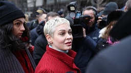 NEW YORK, USA - JANUARY 6: Rose McGowan who has accused former Hollywood producer Harvey Weinstein of sexual assault, arrives at New York Supreme Court, in New York, United States on January 6, 2020 on the first day of Harvey Weinstein trial on charges of rape and sexual assault.