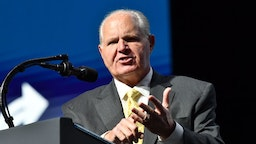 Rush Limbaugh speaks before US President Donald Trump takes the stage during the Turning Point USA Student Action Summit at the Palm Beach County Convention Center in West Palm Beach, Florida on December 21, 2019. (Photo by Nicholas Kamm / AFP)
