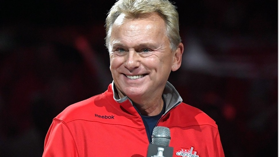 American television personality Pat Sajak makes the team introductions before Game Three of the 2018 NHL Stanley Cup Final between the Vegas Golden Knights and the Washington Capitals at Capital One Arena on June 2, 2018 in Washington, DC. s)