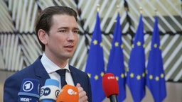 Sebastian Kurz, the Federal Chancellor of Austria as seen arriving at the European Council . Sebastian Kurz attends the EUCO, walking in Forum Europa building on the red carpet with the European flags, having a doorstep statement, talking to journalists, media and press representatives for the intense negotiations on the EU long term budget financial framework for 2021-2027 at a special European Council, EURO summit, EU leaders meeting in Brussels, Belgium. February 20, 2020 (Photo by Nicolas Economou/NurPhoto)