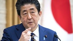 TOKYO, JAPAN - APRIL 07: Japan's Prime Minister Shinzo Abe speaks during a press conference at the prime minister's official residence on April 07, 2020 in Tokyo, Japan. The Japanese Prime Minister has declared a state of emergency that will cover 7 of Japan's 47 prefectures, including Tokyo and Osaka, as the Covid-19 coronavirus outbreak continues to spread in the country. The move will allow affected prefectures to take measures including expropriating private land and buildings and requisitioning medical supplies and food from companies that refuse to sell them.