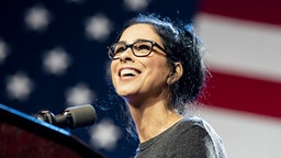 LOS ANGELES, UNITED STATES - MARCH 1, 2020: Comedian Sarah Silverman speaks at the campaign rally for Democratic presidential candidate Senator Bernie Sanders in Los Angeles, California. Sanders campaigns ahead of the upcoming Super Tuesday Democratic presidential primaries.