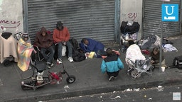 "Homeless people in Los Angles' ""Skid Row."""