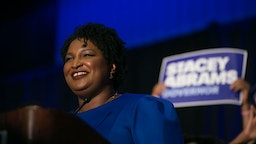 ATLANTA, GA - MAY 22: Georgia Democratic Gubernatorial candidate Stacey Abrams takes the stage to declare victory in the primary during an election night event on May 22, 2018 in Atlanta, Georgia. If elected, Abrams would become the first African American female governor in the state of Georgia.