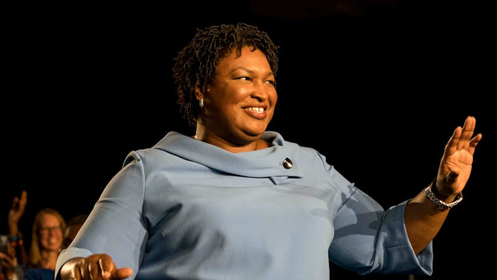 ATLANTA, GEORGIA - On a late election night Democratic nominee for Governor Stacey Abrams speaks to cheering supporters and announced that she'll be in in a runoff with her opponent, at the Hyatt Regency in Atlanta, Georgia on Tuesday November 6, 2018.