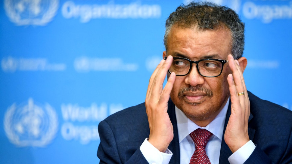 World Health Organization (WHO) Director-General Tedros Adhanom Ghebreyesus gestures during a daily press briefing on COVID-19 coronavirus at the WHO headquaters on March 6, 2020 in Geneva.