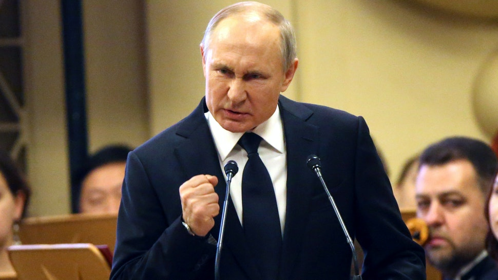 SAINT PETERSBURG, RUSSIA - FEBRUARY 19: (RUSSIA OUT) Russian President Vladimir Putin talks during a concert in memory of politician Anatoly Sobchak at the Conservatory on February 19, 2020 in St.Petersburg, Russia. Vladmir Putin is marking the 20th annivesrary of former government chief, Anatoly Sobchak's death.