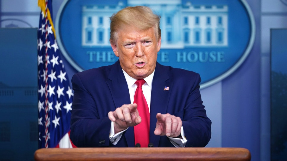 US President Donald Trump speaks during the daily briefing on the novel coronavirus, COVID-19, in the Brady Briefing Room at the White House on April 6, 2020, in Washington, DC.