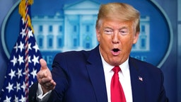 US President Donald Trump speaks during the daily briefing on the novel coronavirus, COVID-19, in the Brady Briefing Room at the White House on April 8, 2020, in Washington, DC.