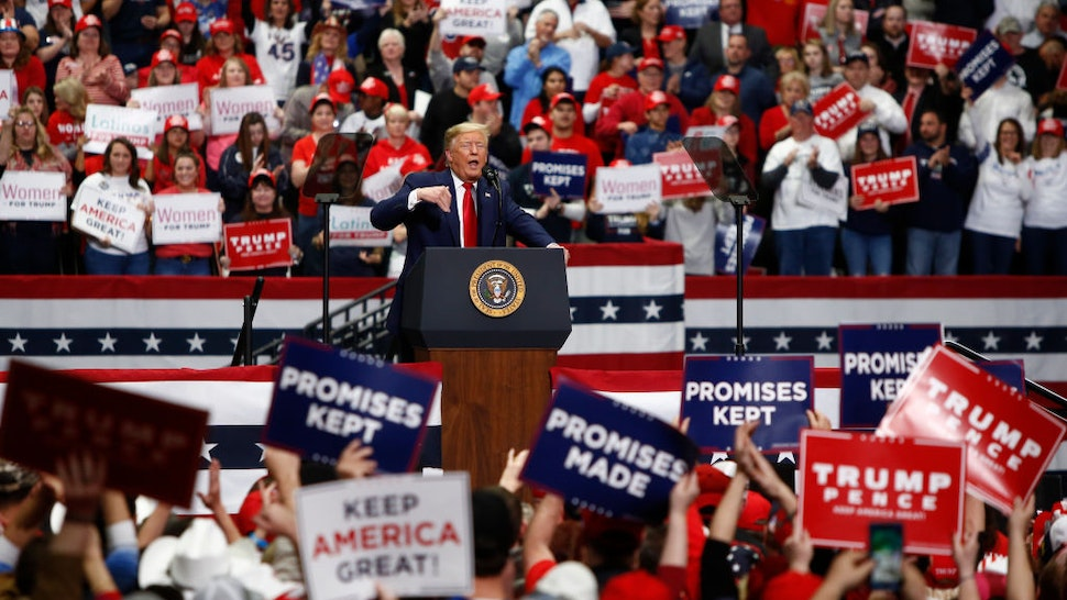 CHARLOTTE, NC - MARCH 2: U.S. President Donald Trump speaks to supporters during a rally on March 2, 2020 in Charlotte, North Carolina. Trump was campaigning ahead of Super Tuesday. (Photo by Brian Blanco/Getty Images)