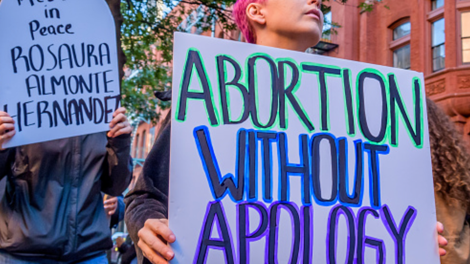 MANHATTAN, NEW YORK, UNITED STATES - 2019/10/05: Pro choice protesters picketed outside the church where anti-abortion groups gathered. Abortion Rights activists from a number of organizations held a demonstration outside of the Basilica of St. Patrick's Old Cathedral in SoHo, where congregants meet on the first Saturday of every month before marching to the Planned Parenthood clinic on Bleecker Street to pray, and to allegedly harass and intimidate patients as they enter the clinic.