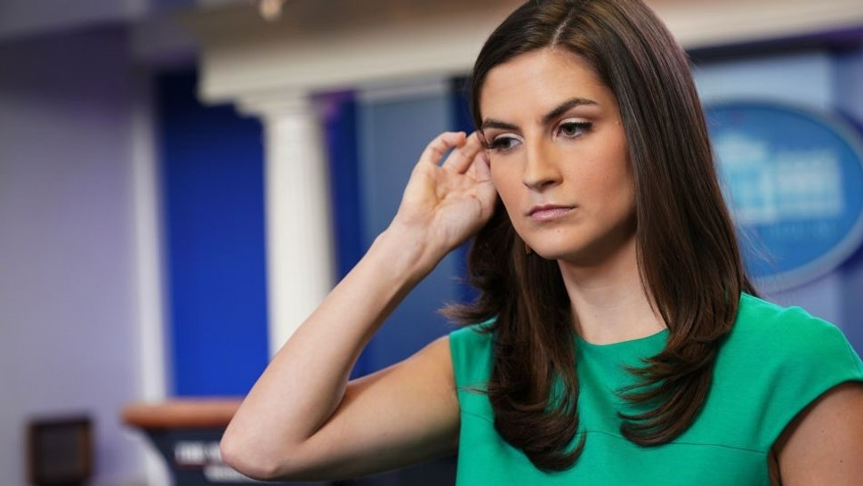 CNN White House correspondent Kaitlan Collins is seen in the Brady Briefing Room of the White House before the start of the daily briefing on August 15, 2018 in Washington, DC. (Photo by MANDEL NGAN / AFP) (Photo credit should read