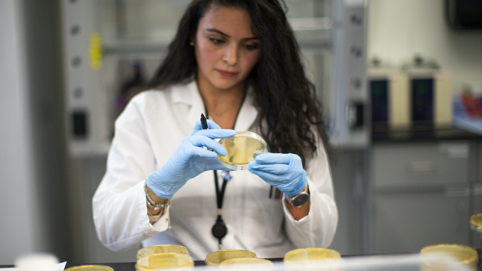 NUTLEY, NJ - FEBRUARY 28: A researcher works in a lab that is developing testing for the COVID-19 coronavirus at Hackensack Meridian Health Center for Discovery and Innovation on February 28, 2020 in Nutley, New Jersey. The facility develops novel therapies for some of the world's most difficult diseases. At least 53 countries have reported cases of infection.