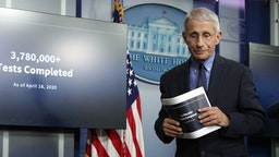 WASHINGTON, DC - APRIL 17: Dr. Anthony Fauci, director of the National Institute of Allergy and Infectious Diseases, steps away after speaking during the daily briefing of the White House Coronavirus Task Force, at the White House April 17, 2020 in Washington, DC. President Trump is facing criticism from the nations governors over his three phase plan to open the states, citing that more testing is needed during the COVID-19 pandemic. (Photo by