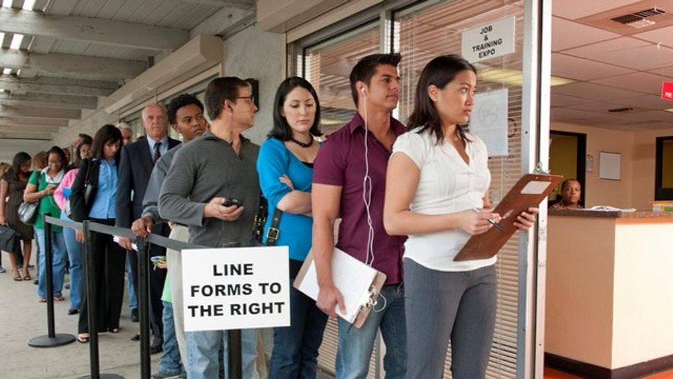Unemployment line, people out of work looking for a job