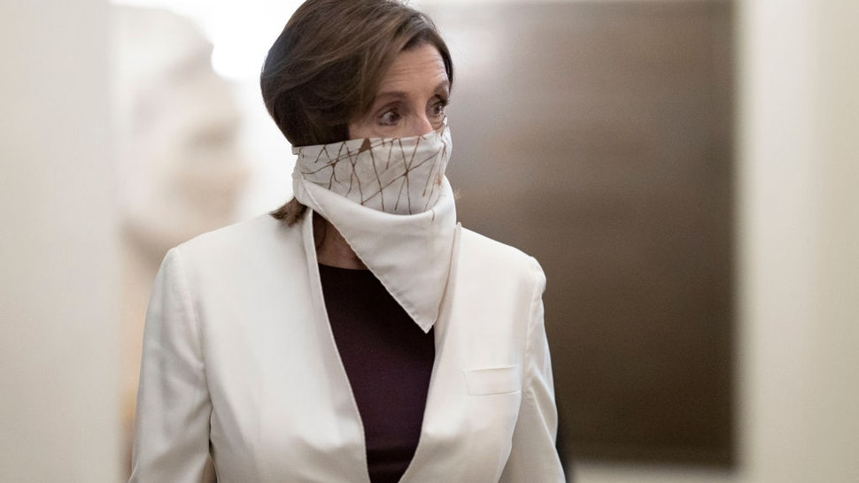 WASHINGTON, DC - APRIL 23: U.S. Speaker of the House Nancy Pelosi (D-CA) arrives at the U.S. Capitol on April 23, 2020 in Washington, DC. The House of Representatives is expected to vote later today on the latest economic stimulus package passed earlier in the week by the U.S. Senate. (Photo by