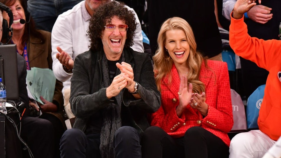 Howard Stern and Beth Ostrosky Stern attend the New York Knicks vs Atlanta Hawks game at Madison Square Garden on October 17, 2018 in New York City. (Photo by J