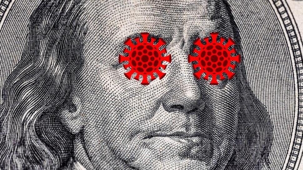 US quarantine, 100 dollar banknote coronavirus. The concept of pandemic and economic decline