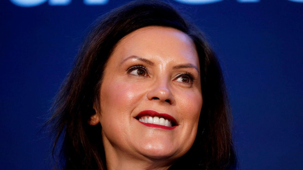 HAMTRAMCK, MI - JANUARY 27: Michigan Gov. Gretchen Whitmer stands on stage at an event where General Motors announced that GMs Detroit-Hamtramck Assembly plant will build the all-electric Cruise Origin self-driving shuttle on January 27, 2020 in Hamtramck, Michigan. GM will invest $2.2 billion at the Detroit-Hamtramck plant and 2200 jobs for an all-electric future for electric pickups, SUVs, and autonomous vehicles. (Photo by