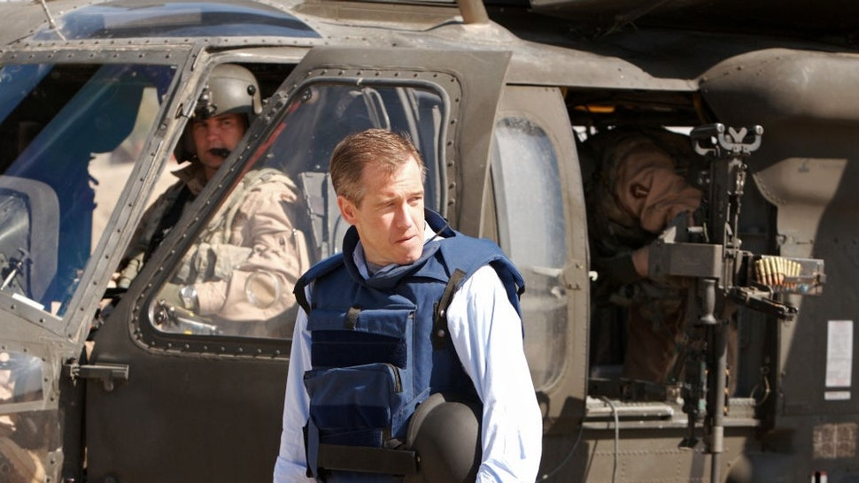 """NBC NEWS -- Pictured: (c) Anchor and Managing Editor, Brian Williams of """"NBC Nightly News"""" with American military reports from Camp Liberty in Baghdad, Iraq on March 8, 2007 (Photo by"""