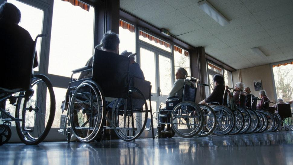 STRASBOURG, FRANCE ? SEPTEMBER 2007: Elderly residents at the Pavilion Schutzenberger in Strasbourg, France.