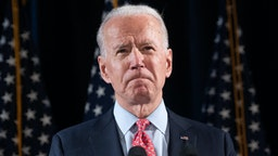 Former US Vice President and Democratic presidential hopeful Joe Biden speaks about COVID-19, known as the Coronavirus, during a press event in Wilmington, Delaware on March 12, 2020.