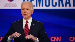 Democratic presidential hopeful former US vice president Joe Biden makes a point as he and Senator Bernie Sanders take part in the 11th Democratic Party 2020 presidential debate in a CNN Washington Bureau studio in Washington, DC on March 15, 2020.