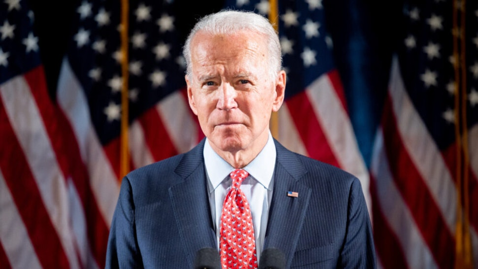 Former Vice President Joe Biden (D) speaks about the Coronavirus and the response to it at the Hotel Du Pont in Wilmington, DE.