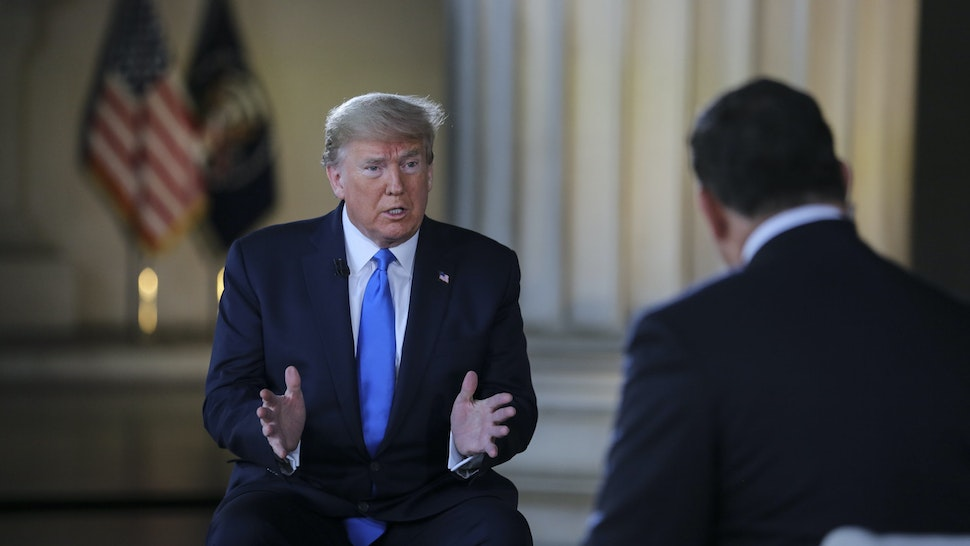 U.S. President Donald Trump speaks during a Fox News town hall at the Lincoln Memorial in Washington, D.C., U.S., on Sunday, May 3, 2020.
