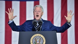 Former US president Bill Clinton addresses a rally for his wife Democratic presidential candidate Hillary Clinton on the final night of the 2016 US presidential campaign at Independence Mall in Philadelphia, Pennsylvania, November 07, 2016.