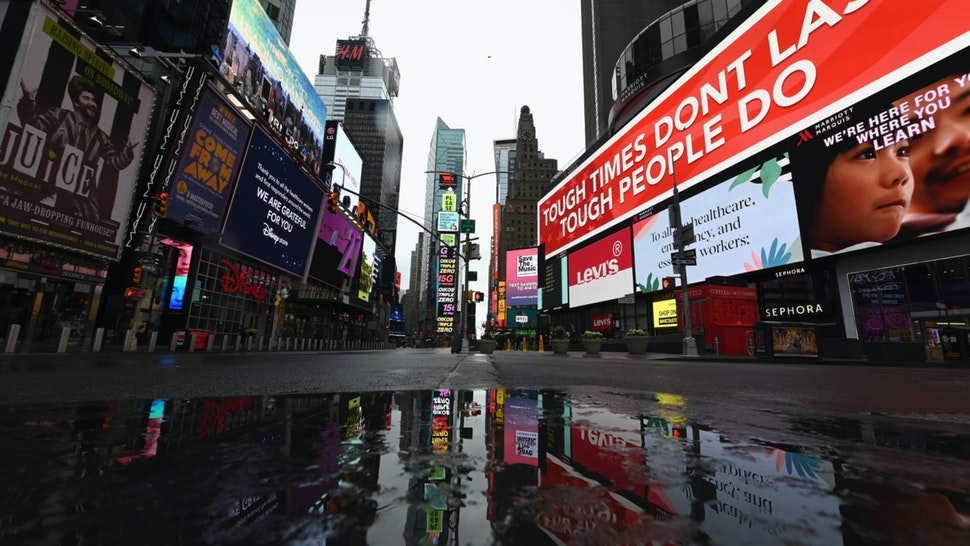 A view of a nearly empty Time Square on April 09, 2020 in New York City.