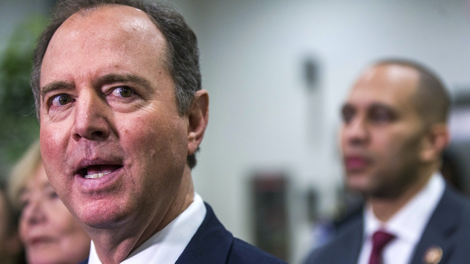 WASHINGTON, DC - JANUARY 30: House Intelligence Committee Chairman Rep. Adam Schiff (D-CA) speaks to reporters in the Senate basement at the U.S. Capitol as the Senate impeachment trial of U.S. President Donald Trump continues on January 30, 2020 in Washington, DC. On Thursday, Senators continue asking questions for the House impeachment managers and the president's defense team.