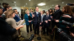 U.S. Representative Adam Schiff (D-CA), accompanied by other House impeachment managers discusses the Senate impeachment trial.- PHOTOGRAPH BY Michael Brochstein / Echoes Wire/ Barcroft Media