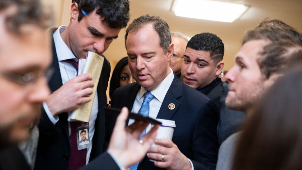 Rep. Adam Schiff, D-Calif., talks with reporters after a meeting of the House Democratic Caucus in the Capitol on Tuesday, March 3, 2020. (Photo By Tom Williams/CQ Roll Call)