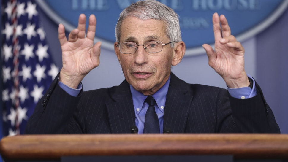 Anthony Fauci, director of the National Institute of Allergy and Infectious Diseases, speaks during a news conference at the White House in Washington D.C., U.S. on Friday, April 17, 2020. President Donald Trump said there's enough coronavirus testing capacity to put in place his plan to allow a phased reopening of the economy, even though some state officials and business leaders have raised alarms about shortages. Photographer: Oliver Contreras/Sipa/Bloomberg