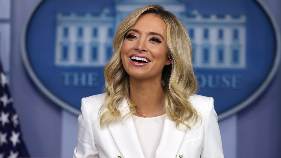 White House Press Secretary Kayleigh McEnany answers reporters' questions during a news conference in the Brady Press Briefing Room at the White House May 06, 2020 in Washington, DC.