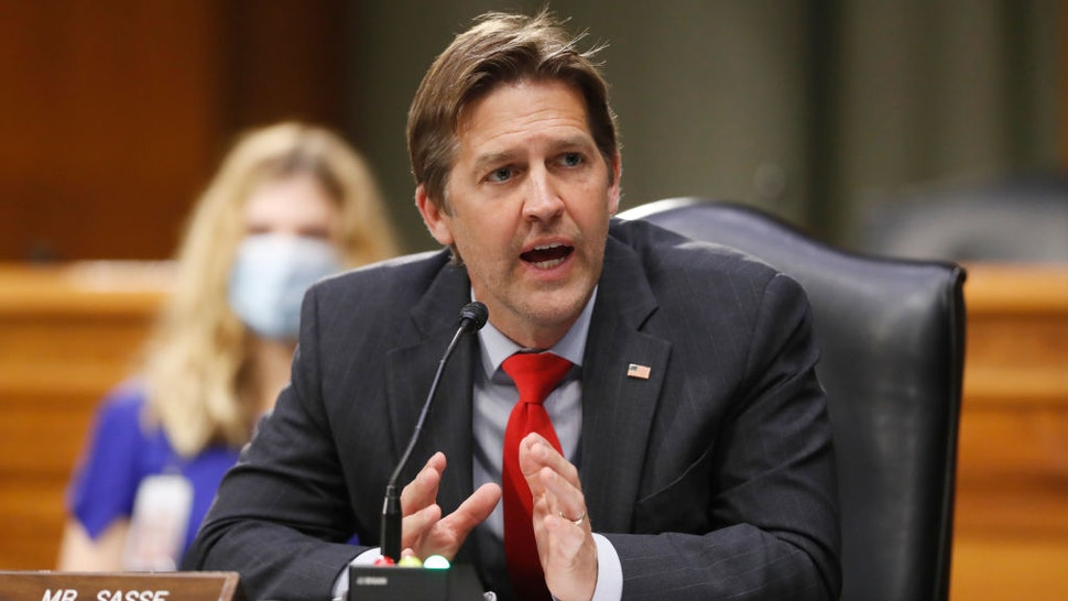 WASHINGTON, DC - MAY 05: Sen. Ben Sasse, D-Neb., right, speaks during a Senate Intelligence Committee nomination hearing for Rep. John Ratcliffe, R-Texas, on Capitol Hill in Washington, Tuesday, May. 5, 2020. The panel is considering Ratcliffe's nomination for director of national intelligence. (Photo by Andrew Harnik-Pool/Getty Images)
