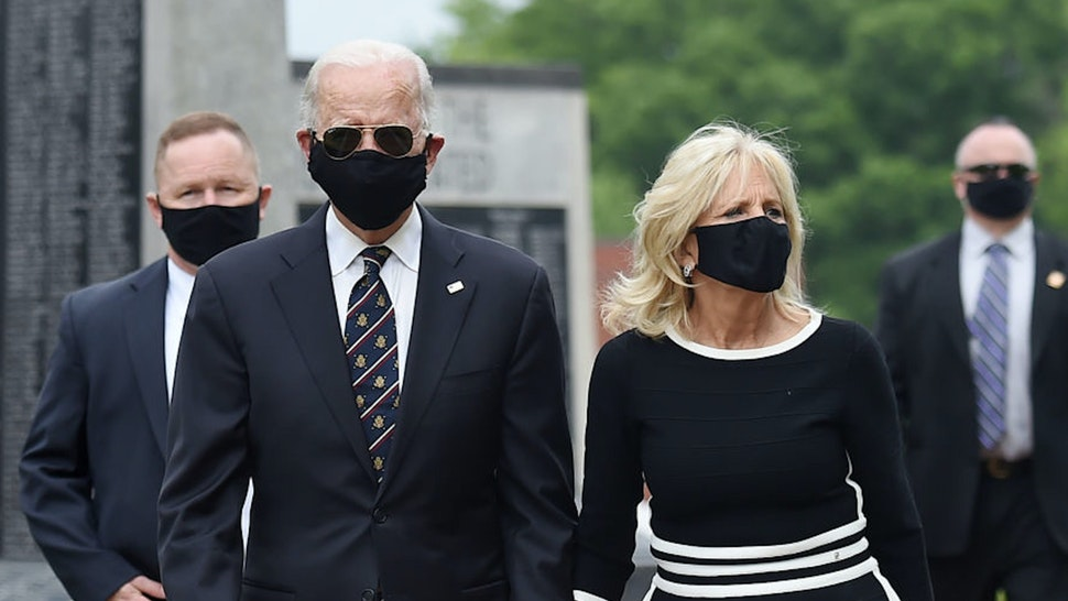 Democratic presidential candidate and former US Vice President Joe Biden and his wife Jill Biden, leave Delaware Memorial Bridge Veteran's Memorial Park after paying their respects to fallen service members in Newcastle, Delaware, May 25, 2020.