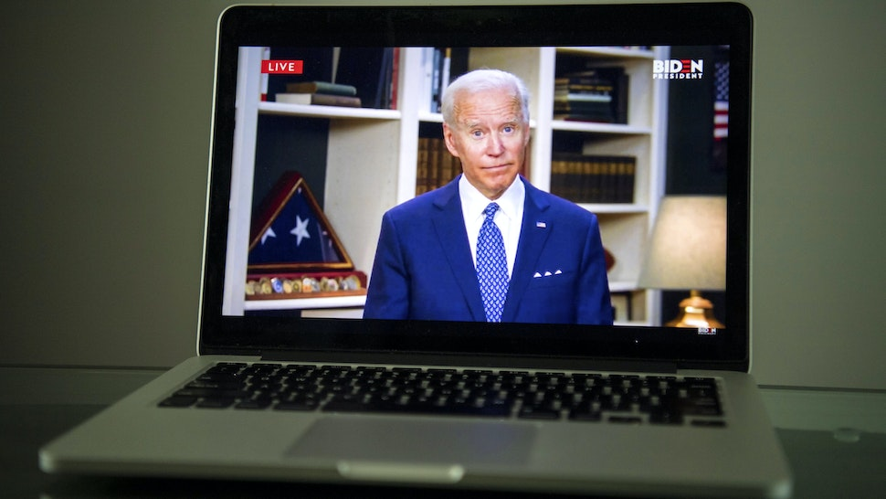 WASHINGTON, DC - MAY 29: Former Vice President Joe Biden speaks from his home about George Floyd's death and the protests in Minnesota as seen livestreaming on a laptop in Washington, DC on May 29, 2020.