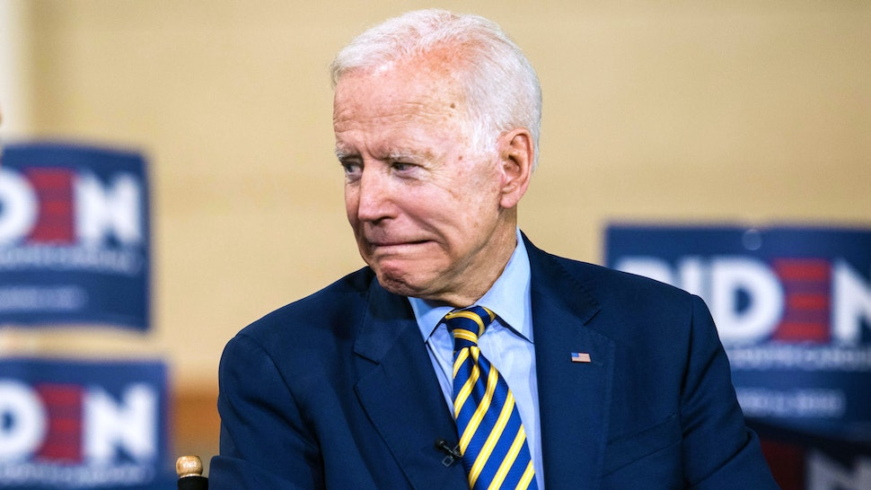 COLUMBIA, SC - JUNE 22: Democratic presidential candidate, former Vice President Joe Biden looks to his supporters after a television interview with Al Sharpton during the 2019 South Carolina Democratic Party State Convention on June 22, 2019 in Columbia, South Carolina. Democratic presidential hopefuls are converging on South Carolina this weekend for a host of events where the candidates can directly address an important voting bloc in the Democratic primary.