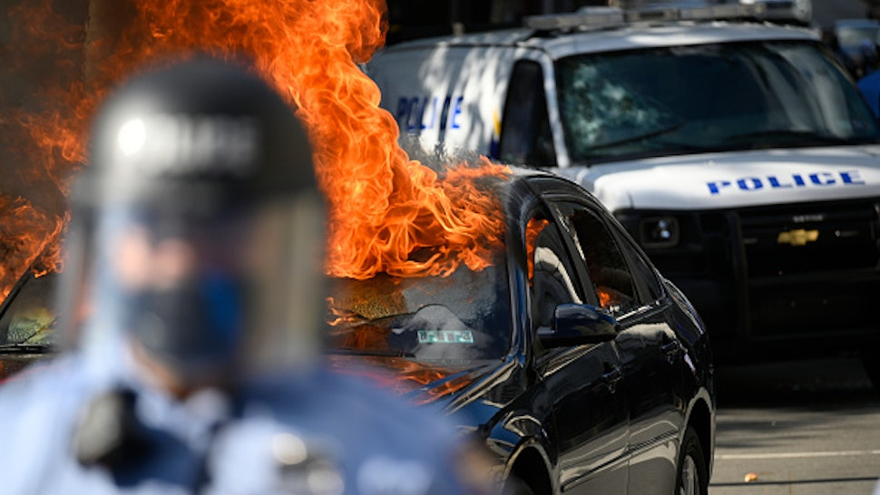Protestors clash with police near City Hall, in Philadelphia, PA on May 30, 2020. Cities around the nation see thousands take to the streets to protest police brutality after the murder of George Floyd.