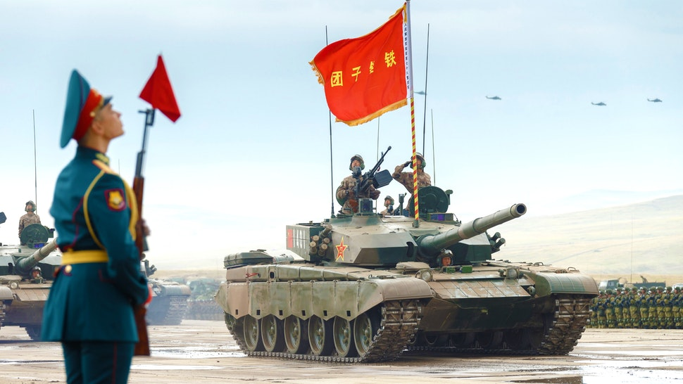 TRANSBAIKAL TERRITORY, RUSSIA SEPTEMBER 13, 2018: Chinese Type 96 (ZTZ-96) tank during a parade of military hardware and aviation involved in the main stage of the Vostok 2018 military exercise held jointly by the Russian Armed Forces and the Chinese People's Liberation Army at the Tsugol range. Vadim Savitsky/Russian Defence Ministry Press Office/TASS