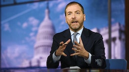 """MEET THE PRESS -- Pictured: (l-r) -- Moderator Chuck Todd appears on Meet the Press"""" in Washington, D.C., Sunday, Feb. 16, 2020."""