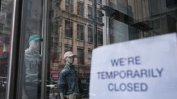 NEW YORK, NY - MAY 08: A store stands closed near Wall Street as the coronavirus keeps financial markets and businesses mostly closed on May 08, 2020 in New York City. The Bureau of Labor Statistics announced on Friday that the US economy lost 20.5 million jobs in April. This is the largest decline in jobs since the government began tracking the data in 1939. (Spencer Platt/Getty Images)